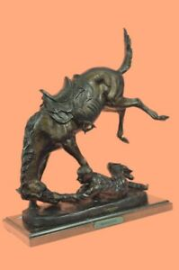 Real 1005 Bronze Wicked Pony By Frederic Remington Art Deco Sculpture Statue Lrg