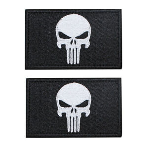 2pcs Tactical Punisher Skull Embroidery Military Army Morale Hook Patch Badge
