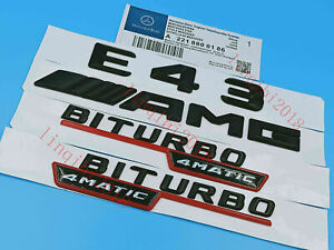 Black E43 AMG  BITURBO Letters Trunk Embl Badge Sticker for Mercedes Benz #4