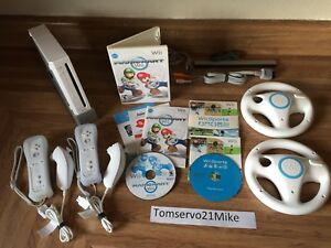 Nintendo Wii Console Mario Kart Bundle W Wii Sports 2 Controllers AND 2 Wheels