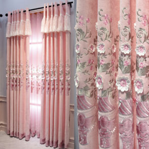Thicken window curtain luxury blackout lining curtain customize embroidery tulle