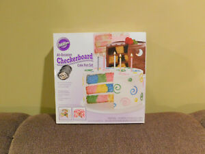 WILTON ALL-OCCASION CHECKERBOARD CAKE PAN SET • 3 PANS • NEW IN BOX