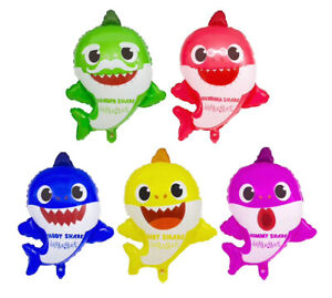 5pc Baby Shark Family Helium Foil Balloons 22quot; Kids Birthday Party Decorations