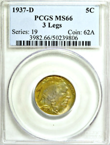 1937-D PCGS MS66 Three Legged 🔴 3 Legs 🍀 Pop 120 💜 KEY Buffalo Nickel █ 5c