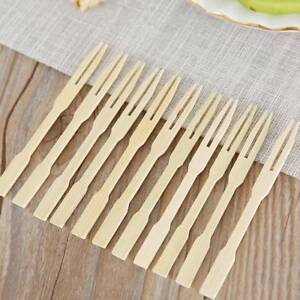 Dessert Utensil Wooden Skewers Food Cherry Fruit Forks Disposable Bamboo Party