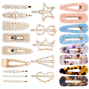 Women Girls Pearl Hair Clip Set Bobby Pin Acrylic Hairpin Hair Accessories Gift