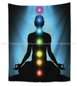 chakras healing yoga meditation wall hanging tapestry beach towel