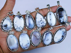 200 PCs Lot Natural White Dendritic Agate Gemstone .925 Silver Plated Pendants