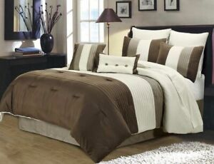 8 Piece Luxury Pintuck Pleated Stripe Brown Ivory and Taupe Comforter Set