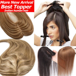 Mono Silk Base Clip In Virgin Human Hair Topper Extensions Mix Blonde Durable US