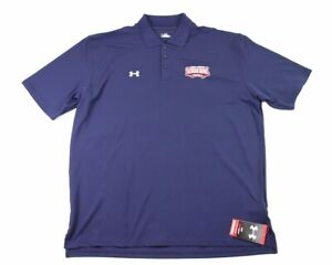MENS XL BLUE RED UNDER ARMOUR SENIOR BOWL FOOTBALL POLO SHIRT NWT HEATGEAR $24.99