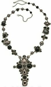 CHANEL Long Necklace 2008 Fall Black Pearl Strass Resin Grey Cross Pendant 33in