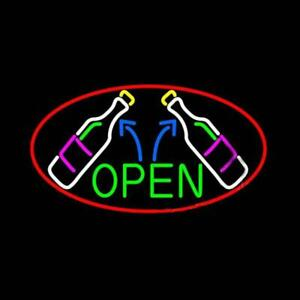 New Open Wine Glass Bottles Artwork Poster Beer Neon Sign 32