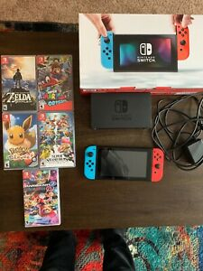 Nintendo Switch 32GB Gray Console with Neon Red and Neon Blue Joy-Con With Games