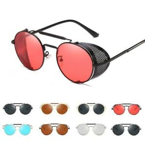 Vintage Steampunk Sunglasses Side Shield Gothic Hipster Round Eyewear Glasses