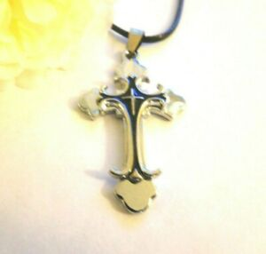 Necklace Cord Pendant Cross Jesus Crucifix Silver Tone US Seller Stock NEW $5.99