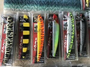 75 Vintage New Old Stock Musky Mania Lures In Box Jake Squirrel Ernie Muskie
