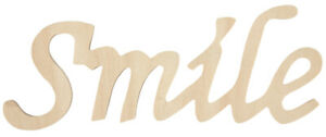 Wood Script Words Smile 3 X 7 Inches