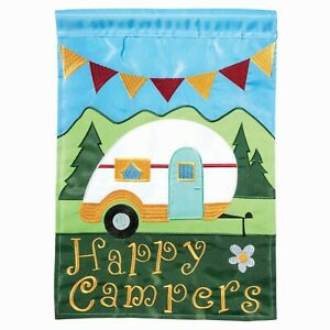 Happy Camping -  Double Applique House Flag  - 29