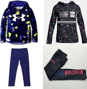 UNDER ARMOUR GIRLS 6X SMALL ~LEGGINGS ~ SMALL HOODIE SWEATSHIRTS ~ 4PC NEW $155