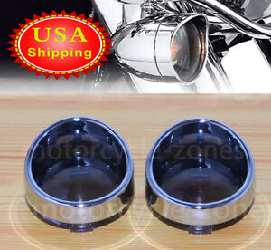 Smoked Visor-Style Bullet Turn Signal Lens For Harley Sportster Softail Dyna USA