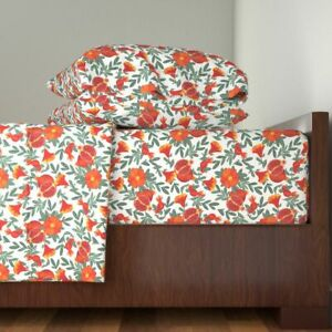 Pomegranate Winter Fruit Tropical 100% Cotton Sateen Sheet Set by Roostery