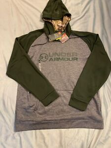 Under Armour Mens 2XL Storm Forest Camo Hooded Sweatshirt Hoodie Gray Green NWT