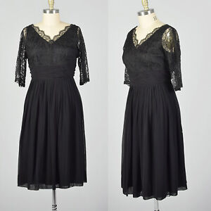 XXL 1950s Lace and Chiffon Dress Vintage LBD Plus Size Cocktail Party 50s Volup