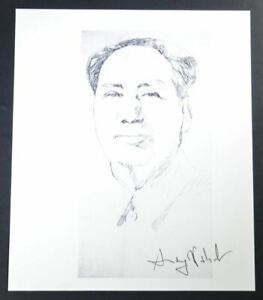 """Andy Warhol Signed Print """"Mao"""" (sketch) 1986.  Hand signed by Warhol with COA."""