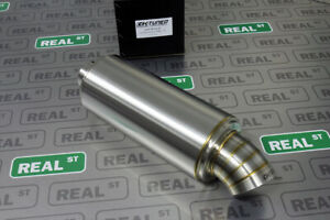 K Tuned 2.5 Center Inlet Out T304 Stainless Universal Muffler 3.5 Turndown Tip $179.99