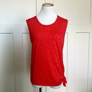 Nike Dri-Fit Womens Shirt Size Small Sleeveless Club Tee Side Tie Loose Fit Red