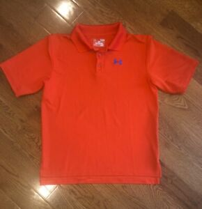 Under Armour Polo Golf Shirt Youth Large Orange YL $12.00