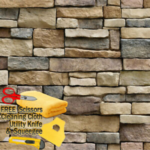 3D Stone Rock Wallpaper Background Modern Vinyl Film Sticker Self adhesive Stack