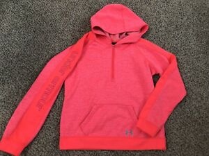 Girls Under Armour Neon Pink Coldgear 12 Zip Hoodie Pullover Youth Large