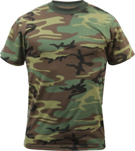 Mens Woodland Camo Tactical T Shirt Military Army Green Camouflage Short Sleeve