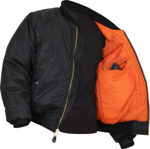 Black Concealed Carry Air Force MA 1 Reversible Bomber Coat Flight Jacket