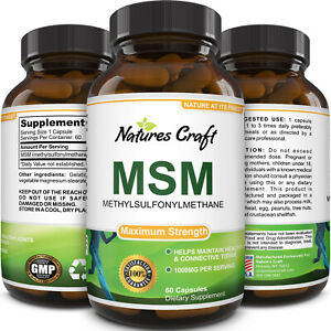 MSM Supplement Sulfur Joint Health Support 1000 mg Pain Relief 60 Capsules