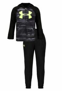 NWT Boys Under Armour Gameday Track Set Black With Bright Green UA Logo $27.99
