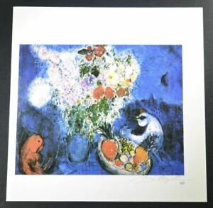 "Marc Chagall Hand Signed Print ""The Large Bouquet"" with a chicken w COA $799.00"
