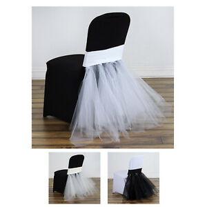50pcs Wedding Party Stretchy Spandex Fitted Tutu Chair Skirts Dinning Slipcover