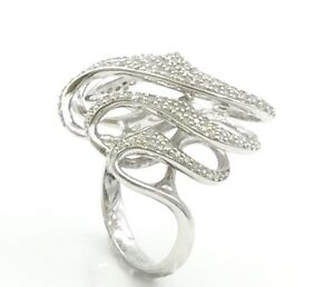 .925 RHODIUM PLATED STERLING SILVER CUBIC ZIRCONIA COCKTAIL RING SIZE 6 12