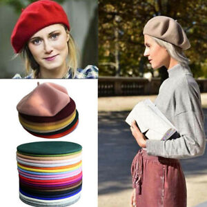 New Autumn Winter Hats Wool Blends Soft Warm French Fluffy Beanie Beret Hat Cap