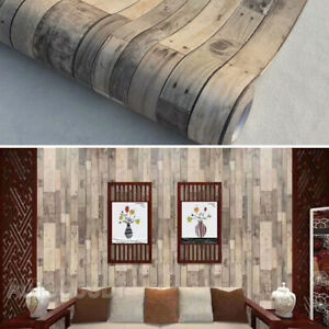 3D Rustic Wood Wallpaper Vintage Vinyl Film Sticker Self-adhesive Plank Shiplap