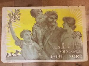 c. 1918 Credit du Nord French War WWI Lithograph Poster- Jacques Carlu Artist