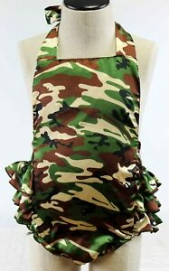 Baby Toddler Girl 12M Romper Halter Ruffle Bottom Camo Camouflage Satin Country