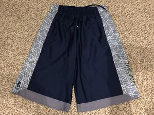 Boys Heatgear Under Armour Navy Blue Notre Dame Basketball Shorts Youth Large