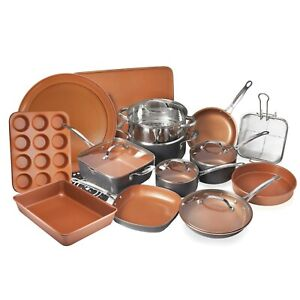 Steel 20 Piece Kitchen Cookware Bake ware Non-Stick Ti-Cerama coating Toxin Free