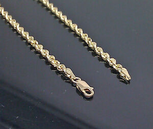 Solid 10K Gold Chain Rope Diamond Cut inch 16
