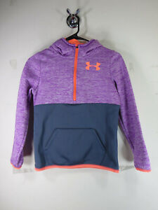 Under Armour girls purple gray charcoal coral 12 zip Storm Fleece hoodie M EUC