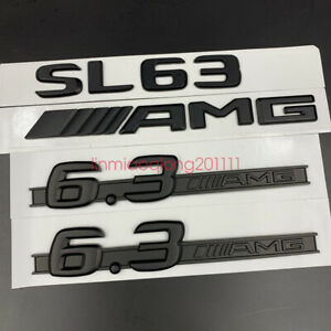Matte black SL63 AMG 6.3AMG Letters Trunk Embl Badge Sticker for Mercedes Benz